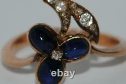 Antique Imperial Russian ROSE 56 Gold Jewelry Ring Gemstone Diamonds Sapphires