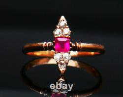 Antique Imperial Russian Ring Ruby Diamonds solid 56 /14K Gold Ø 6.5US / 1.62 gr