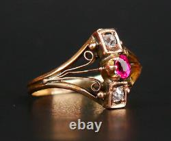 Antique Imperial Russian Ring solid 56 /14K Gold Diamonds Ruby Ø 8US / 2.5 gr