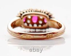Antique Imperial Russian Ring solid 56 /14K Gold Diamonds Ruby Ø US 5.5 / 3 gr