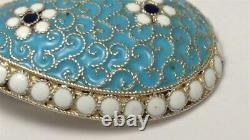 Antique Imperial Russian Silver & Cloisonne Enamel Egg / Coffee Spoon c1885