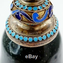 Antique Imperial Russian Silver Nephrite Cup Goblet Khlebnikov Cloisonne Enamel