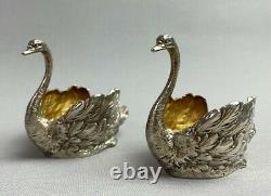 Antique Imperial Russian Solid Gilt Silver Swan Salt Cellars 1878 St Petersburg