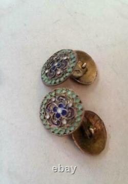 Antique Imperial Russian Sterling Silver 84 Enamel Men's Cufflinks Signed 8 gr