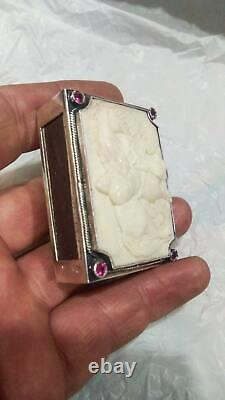 Antique Imperial Russian Sterling Silver 84 Matchstick Case Hand Carved Hero 40g