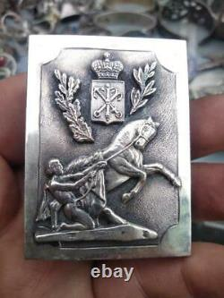 Antique Imperial Russian Sterling Silver 84 Matchstick Case Peter I Signed