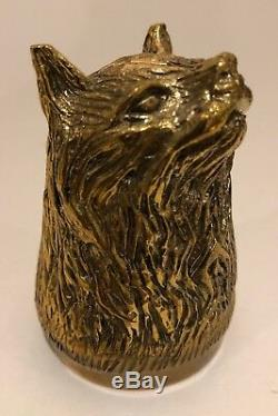 Antique Imperial Russian bronze animal heads vodka cup lot of six