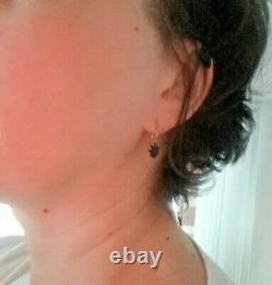 Antique Imperial Russian earrings, Gold 56, Garnets