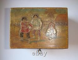 Antique Imperial Russian wooden box casket Abramtsevo Khotkovo Peasant Children