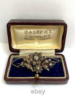 Antique Rare Imperial Russian Faberge 14 Gold 56 Diamond Brooch