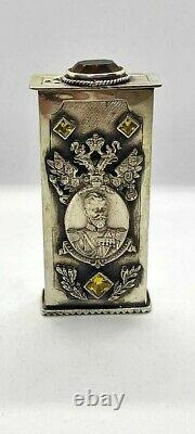 Antique Rare Russian Imperial Sterling Silver 84 Matchstick Case Nikolay II 73g