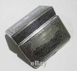 Antique Russian Imperial 840 Gilt Silver & Niello Snuff Box Circa 1886 Moscow