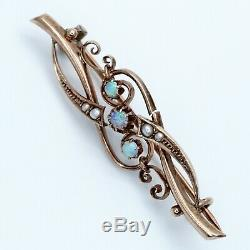 Antique Russian Imperial Art Nouveau Deco 56 Gold Opal Pearl Brooch Pin Pendant