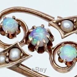 Antique Russian Imperial Art Nouveau Deco 56 Gold Opal Pearl Brooch Pin Pendant