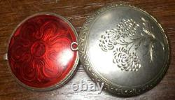 Antique Russian Imperial Enamel Sterling Silver 84 Jewelry Pendant Box Pill Box