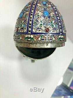 Antique Russian Imperial Silver 84 Cloisonne Enamel Easter Egg Hallmarks 84