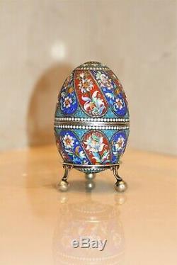 Antique Russian Imperial Silver 84 Cloisonne Enamel Easter Egg Hallmarks 84