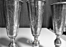 Antique Russian Imperial Silver 84 Set Of 3 Identical Beautiful Kiddush Cups