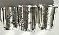 Antique Russian Imperial Silver 84 Three Engraved Cups