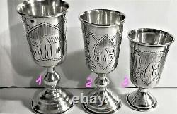 Antique Russian Imperial Silver 84 Three Engraved Kiddush Cups, I. E. Zakhoder