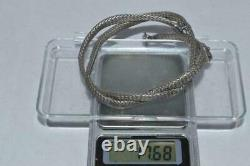 Antique Russian Imperial Sterling Silver 84 Jewelry Snake Chain Necklace Garnet