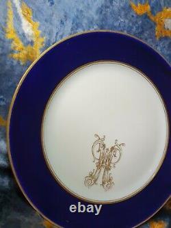 Antique Russian porcelain imperial KUZNETSOV PLATE monogram TSAR NICHOLAS II