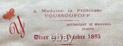 Antique Silk Menu Imperial Russian Princess Zinaida Yusupov Youssoupoff 1895