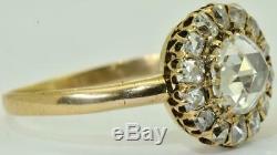 Astonishing antique Imperial Russian 18k gold, 1.07ct Diamonds ladies ring c1890