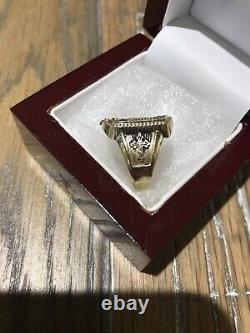 Beautiful Imperial Russian Solid 10k Gold Signet Ring With Antiquing