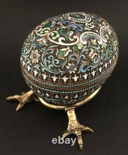 Big Antique Imperial Russian 84 Silver Shaded Enamel Egg (Khlebnikov)
