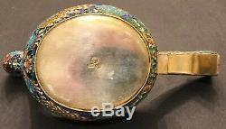 Big Antique Imperial Russian Gilded 84 Sterling Silver and Enamel Kovsh