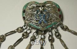 Chatelaine Chain Enamel Imperial Russian 88 Silver Moscow 1915