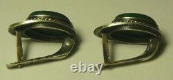 Earrings 84 Silver Malachite Enamel Imperial Russian Moscow 1910