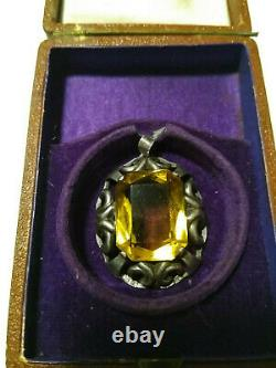 FABERGE Antique Imperial RUSSIAN Pendant with Citrine stone, 84 silver