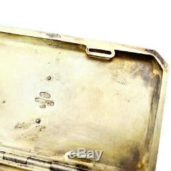 FABERGE K Imperial Russian Gem Silver Enamel Guilloche Snuff Box Cigarette Case