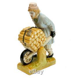 Gardner Russian Imperial Bisque Porcelain Figurine Man with Wheelbarrow
