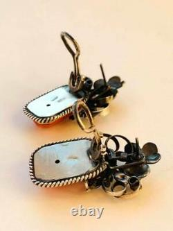 Huge Antique Imperial Russian Sterling Silver 84 Coral Womens Jewelry Earrings