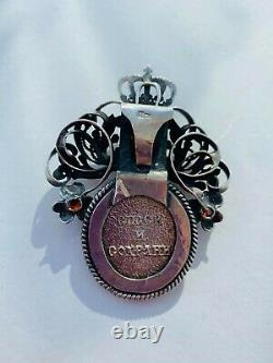 Huge Antique Russian Imperial Sterling Silver 84 Women Jewelry Pendant Icon 30gr