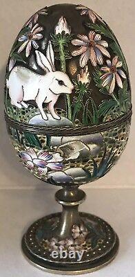 IMPERIAL RUSSIAN SILVER Inlaid Enamel Easter Egg OVCHINNIKOV Bunnies & Flowers