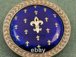 Imperial Antique Russian FABERGE GUILLOCHE ENAMEL Silver 88 pendant H. W