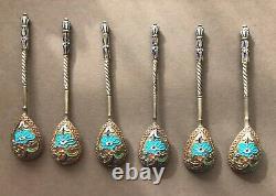 Imperial Russia Silver Cloisonné Enamel SIX Spoon Set, Russian art