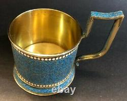 Imperial Russian 84 Gilded Silver Enamel Glass Holder (Klingert)