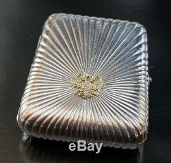 Imperial Russian 84 Silver Cigarette Case With Ruby Button Circa 19th Century