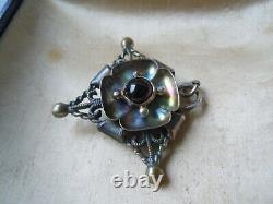 Imperial Russian 84 Silver Pendant with Garnet Stone Faberge design