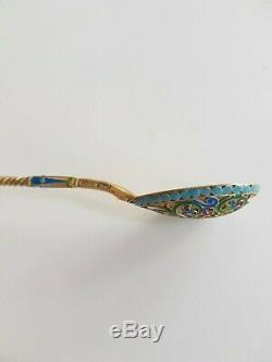 Imperial Russian 84 tea spoon enamel silver and gild