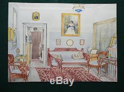 Imperial Russian Aristocratic Interior Antique Watercolour 1910