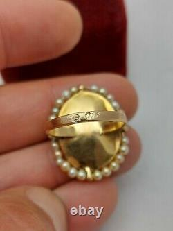 Imperial Russian Faberge 18K 72 Hand Painted Enamel Pearls Ladys Ring