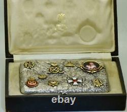 Imperial Russian Faberge Samorodok silver cigarette case. Romanov Tercentenary