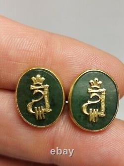 Imperial Russian Faberge Silver Jade Turquoise Cufflinks Monogram Alexander III