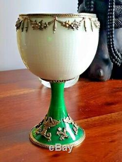 Imperial Russian Magnificent Large Silver Enamel Jewelled Cup